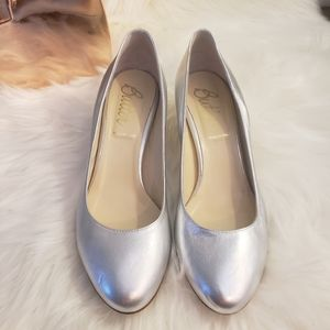 Silver butter round toe heels perfect for weddings